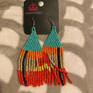 Beaded Boho Blue Paparazzi Earrings